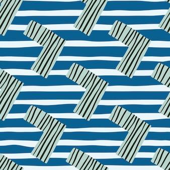 Kinder nahtloses muster mit ecken in blautönen. weißer hintergrund mit streifen.