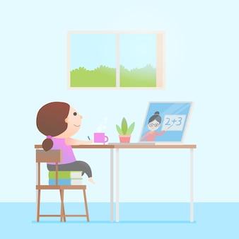 Kinder nehmen online-unterrichtskonzept