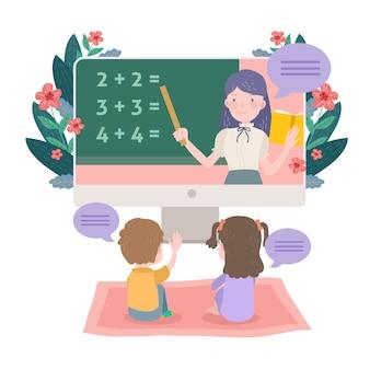 Kinder online-unterricht illustriert