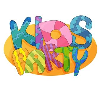 Kinder-party-brief-zeichen-poster. cartoon-buchstaben und bunter hintergrund. vektor-flyer-vorlagenillustration