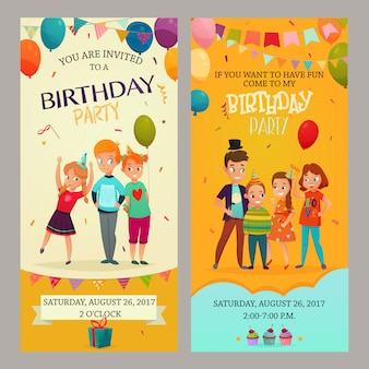 Kinder party einladung banner set