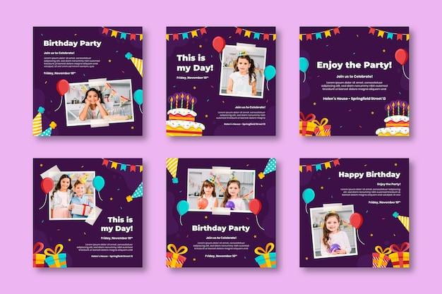 Kinder party geburtstag instagram beiträge Kostenlosen Vektoren