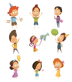 Kinder party retro icons set