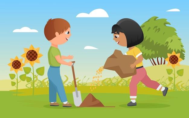Kinder pflanzen samen lustiger kinderjunge, der schaufel kleine glückliche bauernmädchenpflanzung hält