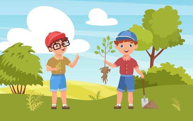 Kinder pflanzen setzling glücklicher junge bauer charakter hält baum bäumchen gartenarbeit