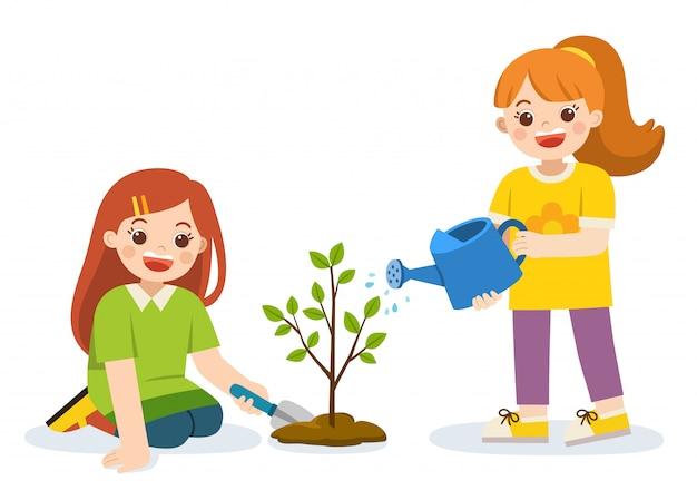 Kinder pflanzten junge bäume und gossen blumen aus der gießkanne. rette die erde. isolierter vektor.