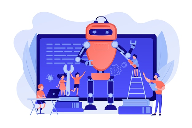 Kinder programmieren und erstellen roboter im unterricht, kleine leute. engineering für kinder, lernen wissenschaftliche aktivitäten, konzept der frühen entwicklungsklassen. isolierte illustration des rosa korallenblauvektors