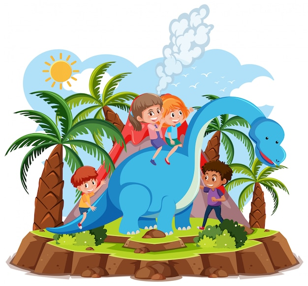Kinder reiten niedlichen dinosaurier mit vulkanausbruch auf weißem hintergrund