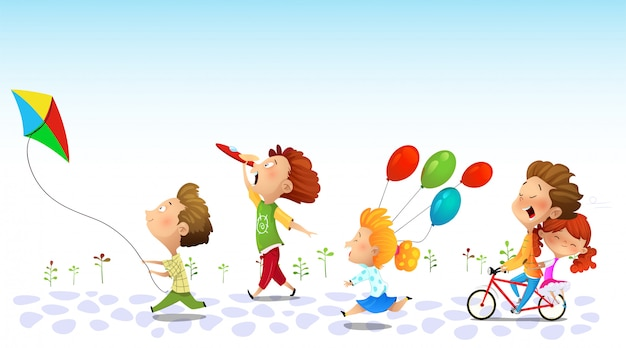 Kinder rennen, freundschaft