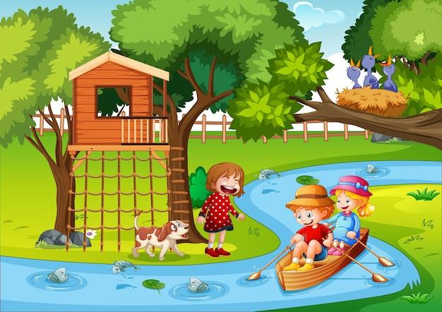 Kinder rudern das boot in der bachwaldszene