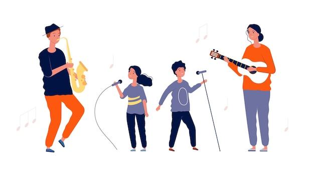 Kinder sänger. musik- und gesangsunterricht für kinder. künstler mädchen junge mit mikrofonen und erwachsenen musikern. aufführung der sängerillustration.
