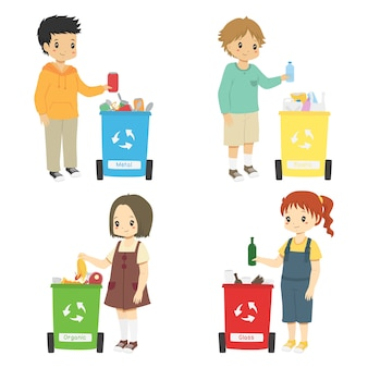Kinder sammeln müll für das recycling. mülleimerset sortieren