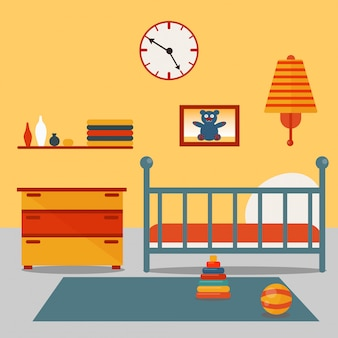 Kinder schlafzimmer interieur. kindermöbel und spielzeug. vektor-illustration
