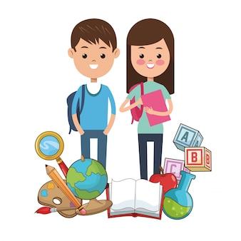 Kinder schüler schule liefert werkzeuge