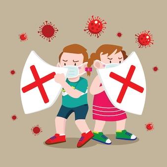 Kinder schützen mit schild vor koronavirus