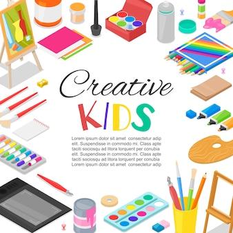 Kinder schufen kunst, bildung, kreativitätsklassenschablone