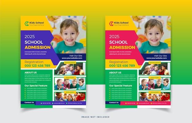 Kinder schule bildung zulassung flyer vorlagendesign