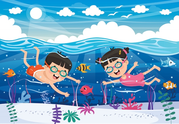 Kinder schwimmen auf dem meer