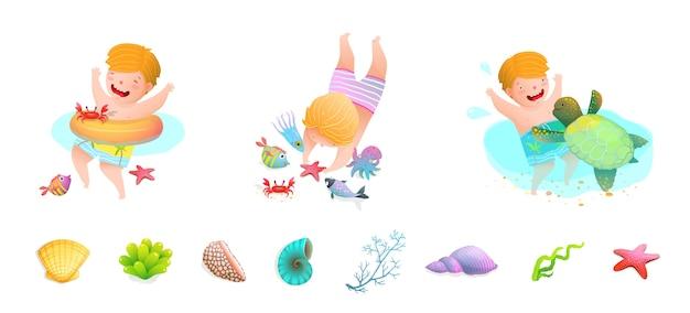 Kinder schwimmen auf see mit meeresschildkröte, fisch, seestern, tintenfisch, muscheln. lustiger süßer cartoon.