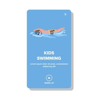 Kinder schwimmen und trainieren im waterpool vector. boy kid in bademode und brille schwimmen im wasserpool. charakter-kind-sport-fitness- und freizeit-web-flache cartoon-illustration