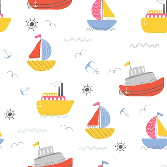 Kinder-segelboot-nahtloses musterdesign