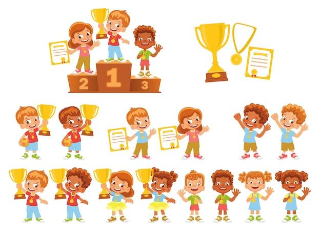 Kinder sind gewinner auf dem podium. gewinner festgelegt