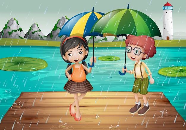 Kinder sind im regen