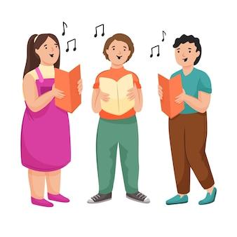 Kinder singen zusammen in einem chor