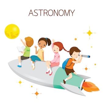 Kinder sitzen auf rakete, gehen zum mond, schüler zurück zur schule