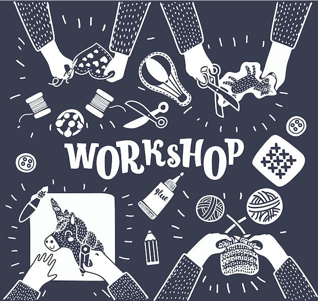Kinder sitzen zusammen am tisch und leisten kreative arbeit. kindergarten. kreativer workshop. draufsicht