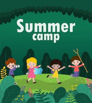Kinder sommercamp banner mit glücklichen kindern aktivitäten auf camping und springen