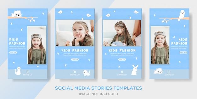 Kinder speichern kleidung banner vorlage für soziale mediengeschichten Premium Vektoren