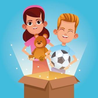 Kinder spenden und charity-cartoon