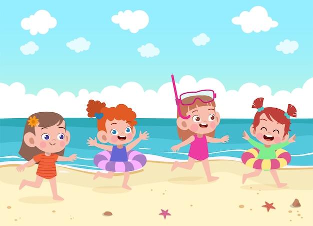 Kinder spielen an der strandillustration