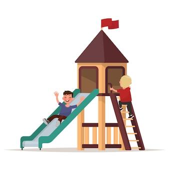 Kinder spielen auf dem spielplatz. illustration