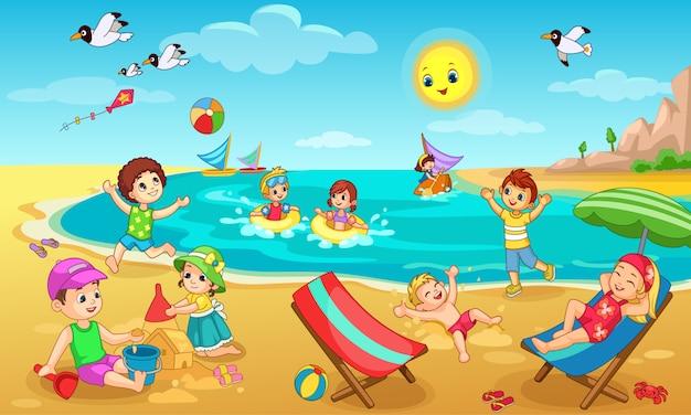 Kinder spielen auf strandillustration