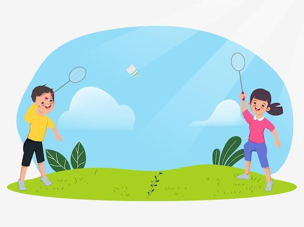 Kinder spielen badminton im naturpark