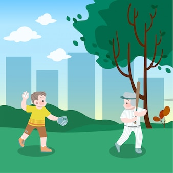 Kinder spielen baseball in der parkvektorillustration