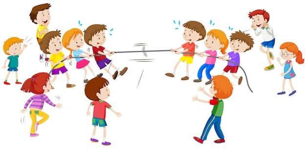 Kinder spielen einen krieg ziehen