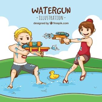 Kinder spielen im bach mit plastikwassergewehren