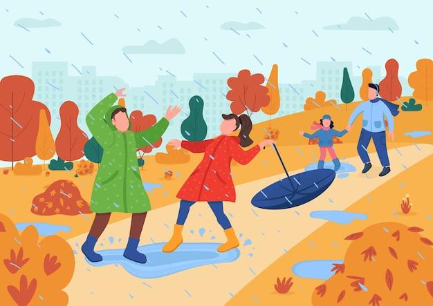 Kinder spielen im regen halb flache illustration. eltern mit kindern im herbststadtpark