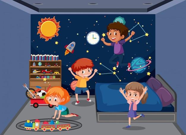 Kinder spielen im schlafzimmer Premium Vektoren
