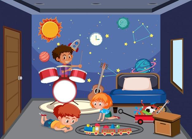 Kinder spielen im schlafzimmer