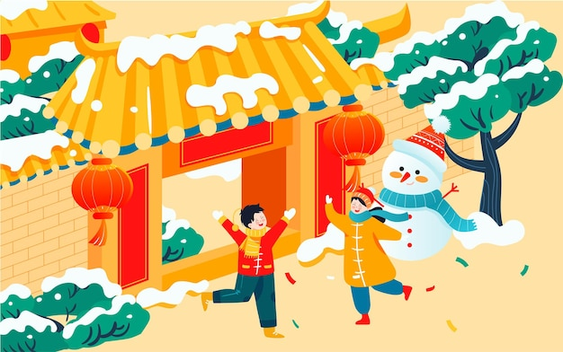 Kinder spielen im winter im freien illustration von chinesischen neujahrszeichen und neujahrsgrüßen