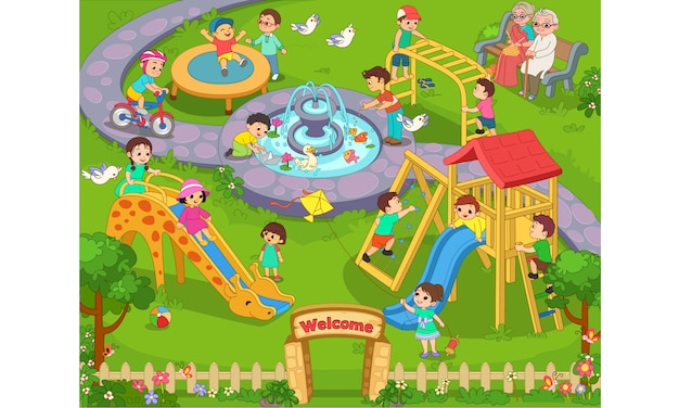Kinder spielen in der gartenkarikaturillustration