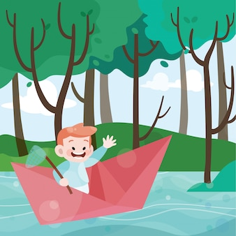 Kinder spielen in der papierbootvektorillustration