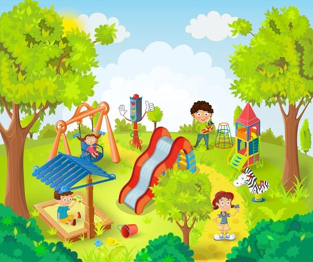 Kinder spielen in der parkillustration
