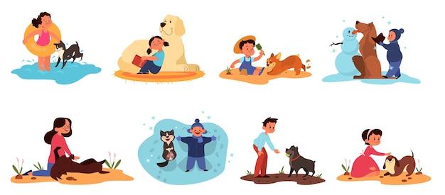 Kinder spielen mit ihrem hundeset. sammlung von glücklichen kind und haustier verbringen zeit zusammen. freundschaft zwischen tier und kindern.