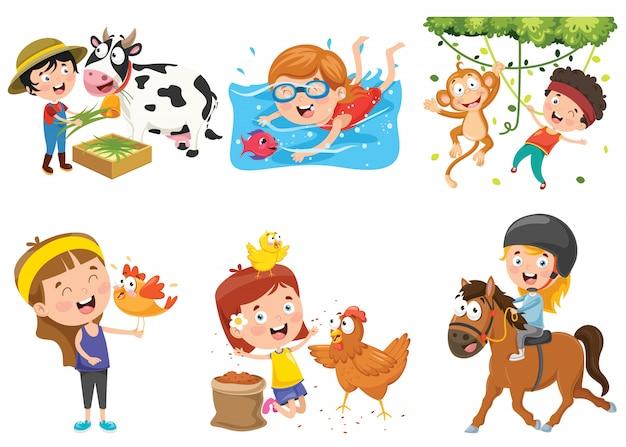 Kinder spielen mit lustigen tieren