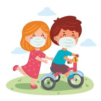 Kinder spielen mit medizinischen masken